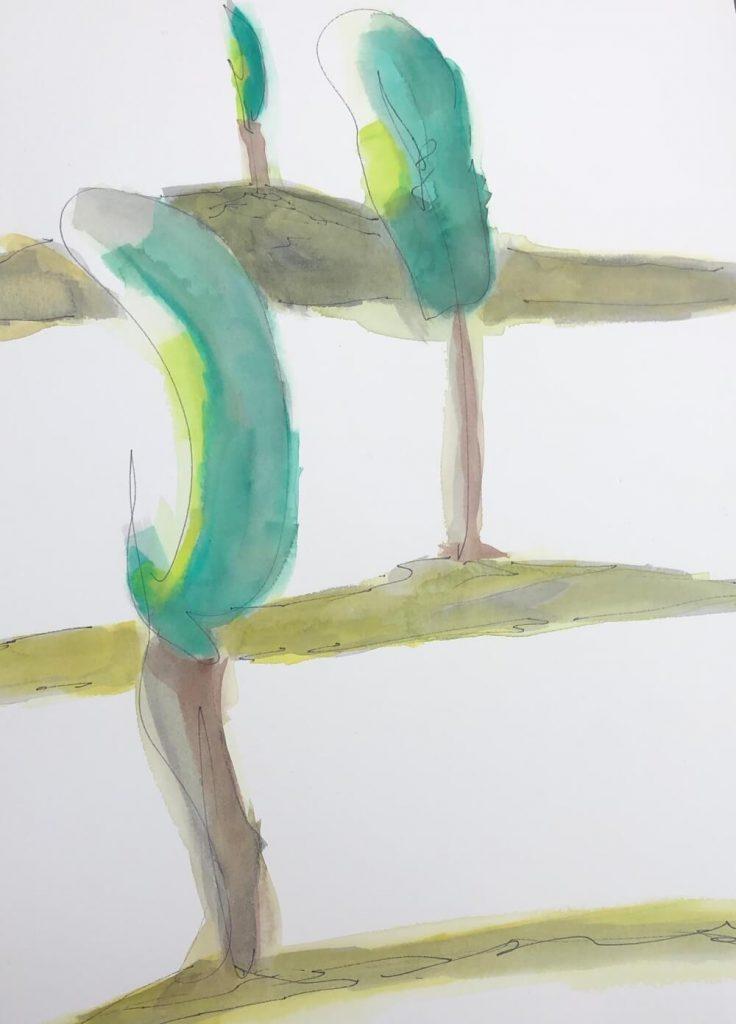 Joseph Castle vineyard water color series 2020 - 7